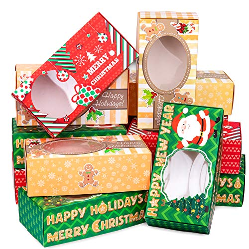 Whaline Cajas de galletas de Navidad con ventana, cajas de regalo de panadería, cajas de dulces de cartón, cajas de comida navideña, diseño de vacaciones, paquete de 12