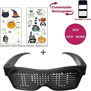 EKOHOME Bluetooth Party Glasses LED 2019, USB Charging Sunglasses with 19 Patterns Optional, Customizable Patterns for Nightclub, Halloween, Party, Christmas (White)
