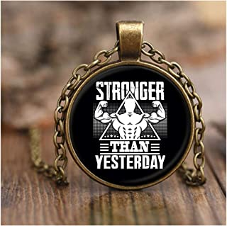 CARONECK Stronger Than Yesterday Necklace Antique Brass, Sporty Weight Necklaces