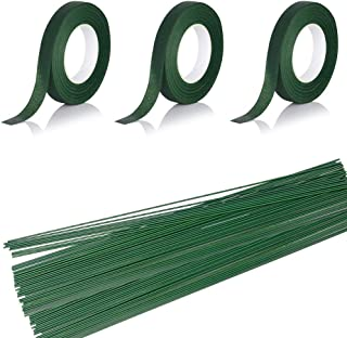 3 Rolls Flower Paper Tape with 50 Pieces Floral Stem Wire 16 Inch for Bouquent Stem Wrapping and Crafts, Dark Green