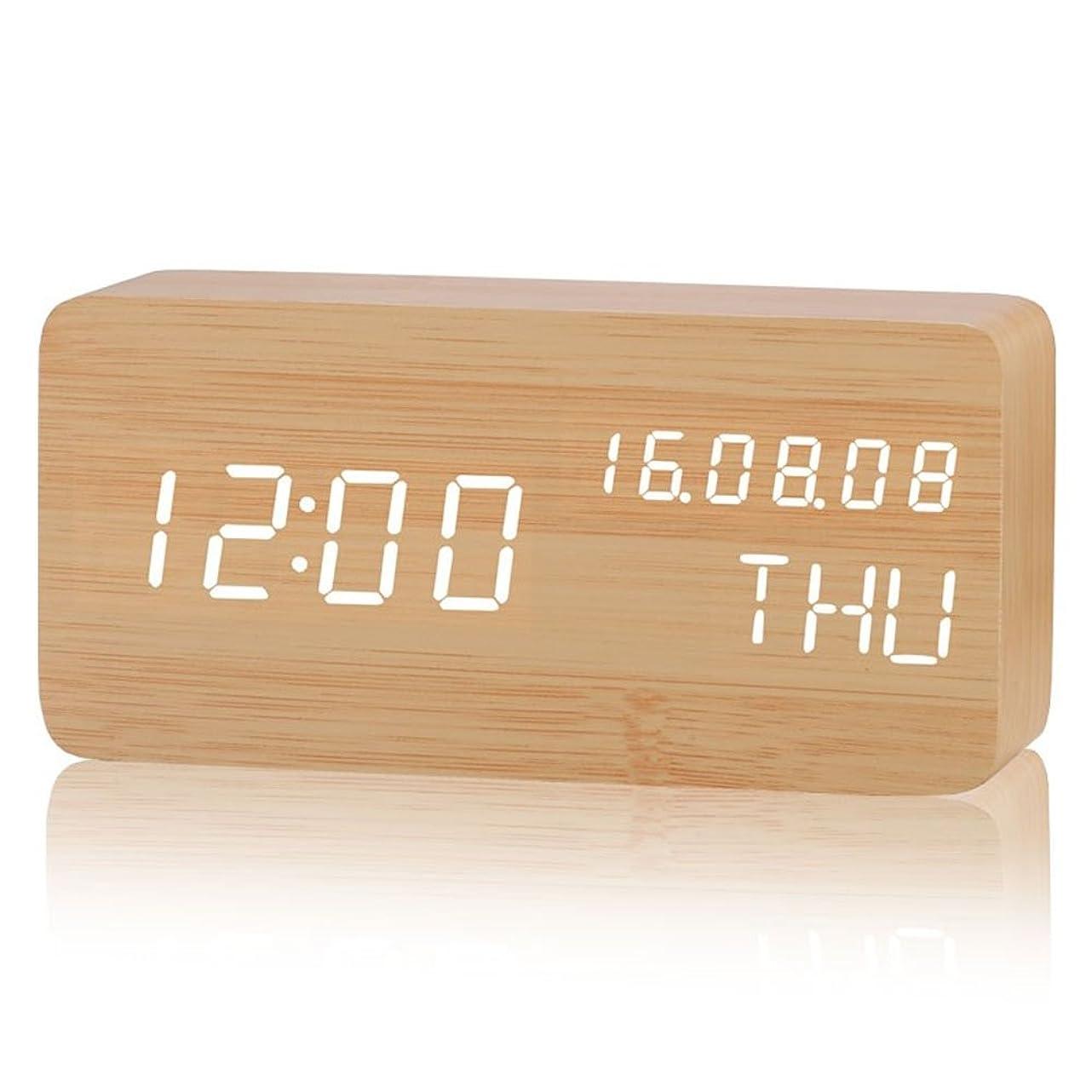 光トークンストレスCangad 目覚まし時計 木製 置き時計 デジタル LED表示 温湿度計 大音量 設定記憶 音声感知 振動/音感センサー 輝度調節 USB給電/電池 ナチュラル風