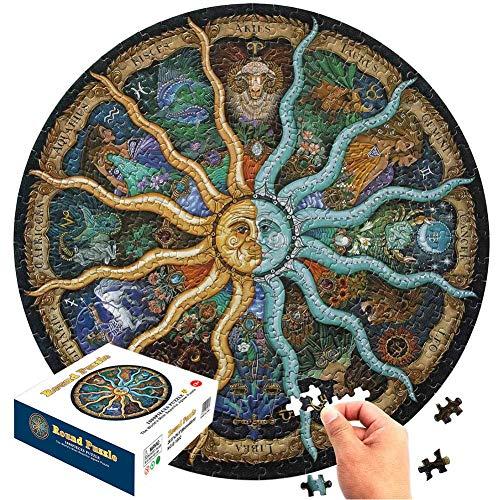 FANDE Rompecabezas Redondo 1000 Piezas, Redonda Rompecabezas del Zodiaco del horóscopo Puzzle DIY constelación Circular Rompecabezas Regalo de cumpleaños