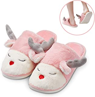 Christmas Slippers for Women,Cute Animal Slippers Reindeer Costume ,Ladies Winter Slippers Plush Home Slippers for Indoor and Outdoor, Best Christmas Gift for Women