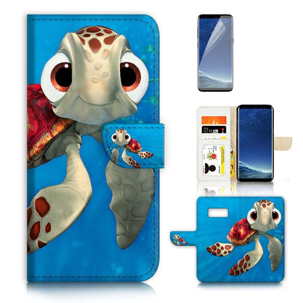 (for Samsung S8+ / Galaxy S8 Plus) Flip Wallet Case Cover & Screen Protector Bundle - A21273 Cartoon Turtle
