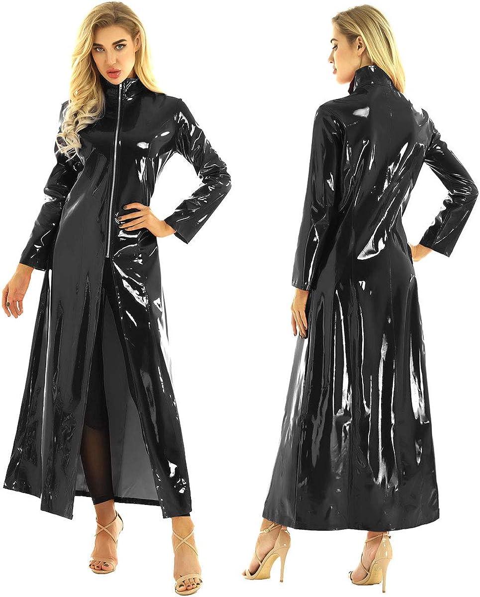 CHICTRY Women/Man's Shiny Metallic Leather Turtleneck Trench Coat Long Jacket