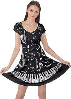 CowCow Women's Plus Size Music Festival Clothing Music Notes Treble Clef Cap Sleeve Dress, XS-5XL