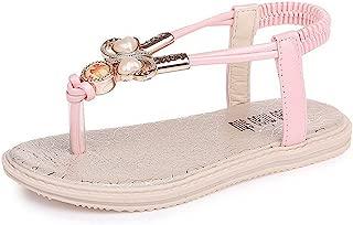 CYBLING Girls T-Strap Thong Sandals Slingback Flat Flip Flops with Rhinestone