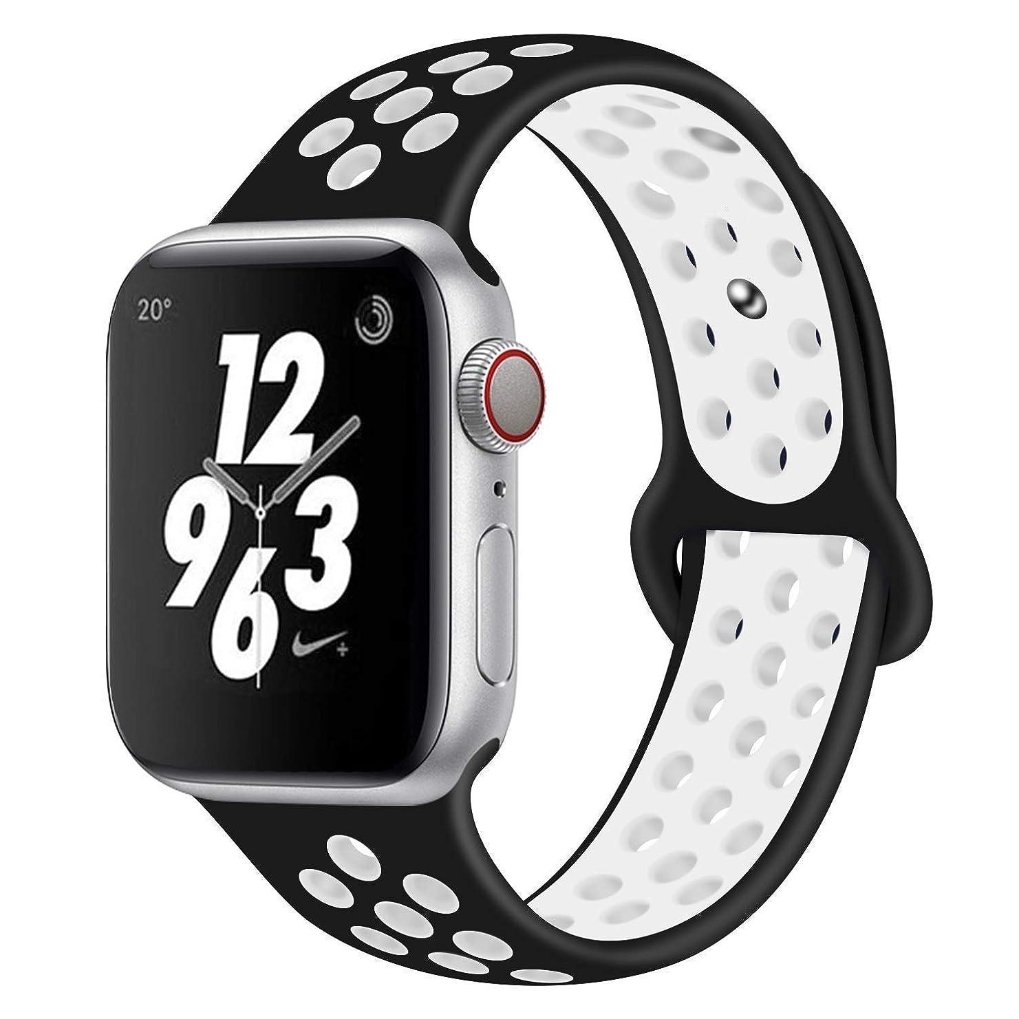 盗賊ママ接ぎ木Apple Watch Band 交換バンド コンパチブル Apple Watch 3 42MM Apple Watch 4/5 44MM コンパチブル Apple Watch バンド コンパチブル アップルウォッチバンド コンパチブルアップルソフトシリコンバンド apple watch バンド NEW Apple Watch Series 5 Series1/2/3/4 に対応 (42/44mm ブラック+ホワイト)
