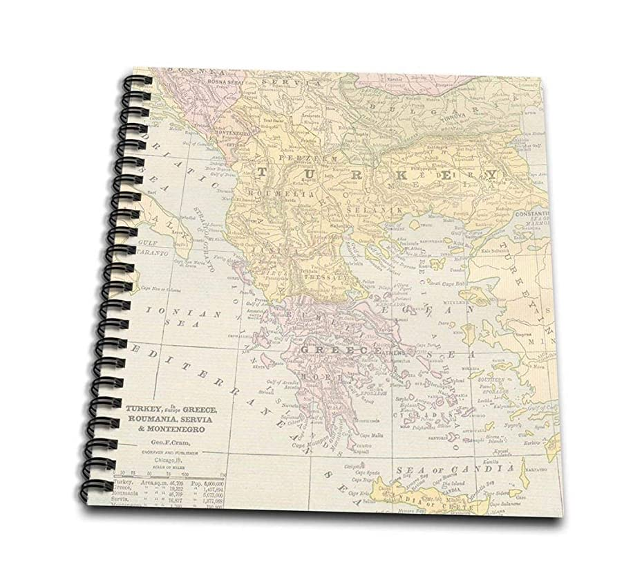 3dRose db_178866_1 Vintage Turkey Greece and Romania Map-Drawing Book, 8 by 8-Inch
