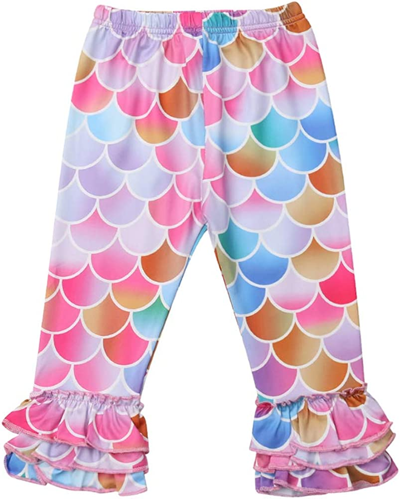 Kids Toddler Girls Rainbow Fish Scale Ruffles Stretch Long Leggings Tight Pants (Fish scale, 4-5 Year)