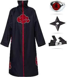 Unisex Long Robe Naruto Akatsuki Zipped Cloak Windproof Coat Halloween Costume for Men/Women Black