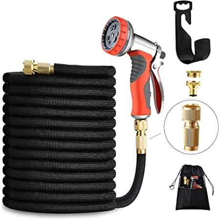 LUFENG UPGRADED Expandable Hose 150FT 45M Garden Hose with Double Latex Core Hose Pipe Solid Brass Fittings 9 Function Metal Spray Gun Nozzle Wall Hanger for Gardening Car Washing Pet Bathing (150FT