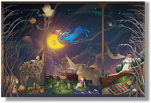 NuoEn 1000 pièces Puzzles 300 pièces rêvant Art pour Adulte Adulte Grandi Puzzles Grande Taille Jouet éducatif Jeux Cadeau Jigsaw Puzzle 750X500mm ( Pattern   Good Night )