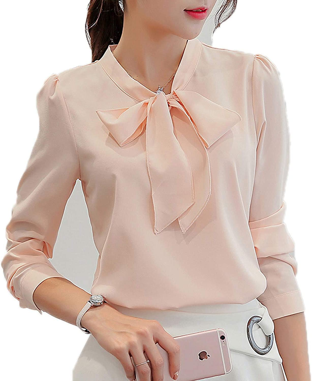Women Chiffon Tee Casual T-Shirt Tops Sleeve Loose Ladies Office Long OL Blouse
