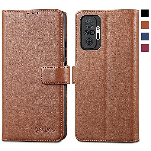 Jenuos für Redmi Note 10 Pro Hülle Echtleder,Xiaomi Redmi Note 10 Pro Max Handyhülle Klappbar Schutzhülle Flip Cover mit [Magnetic Closure] [Card Slot] [Kickstand] -Braun(MN10P-PG-BN)