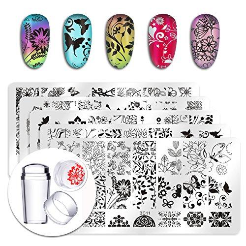 Biutee 5pcs Nail Art Stamping piatti, con Testa in Silicone Trasparente Stamper,Stampini per Nail Art,Gli Immagini Decorata da Fiori,Farfalla