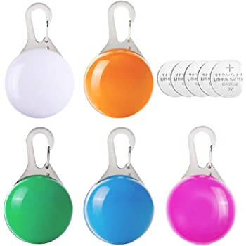 hirsrian Clip on pet, pet collar light Dog Flash Collar Light Colorful Safety Lights of Dogs and Cats,waterproof Light up Dog Collar for Night Walking(5pc+5Batteries)