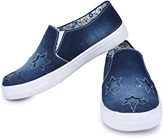Style Panda SP-1100, Navy Blue Denim Star Casual Shoes, Sneakers for Women