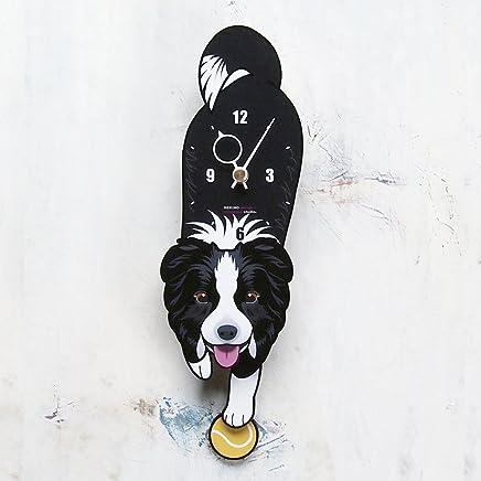 D-66 ボーダーコリー(口開き)-犬の振り子時計
