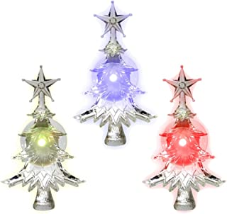 BANBERRY DESIGNS Christmas Window Clings - Set of 3 Suction Cup Xmas Trees - LED Color Changing Lights - Battery Operated Christmas Decorations