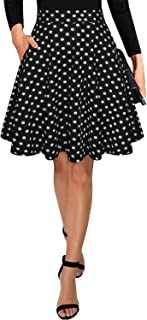 Women's Casual Floral Knee Length Flared A-line Skater Skirts with Pockets