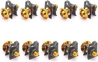 Sangmei Kit de parafusos de carenagem de 10 unidades para motocicleta M6 de 6 mm. Porca de parafuso de grampo de fixação r...