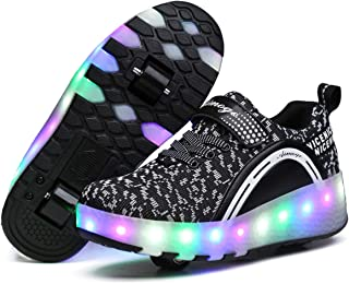 17cc8036766345 Jeneet LED Light Up Double Wheel Roller Skate Shoes Flashing Sneakers for  Kids Boys Girls