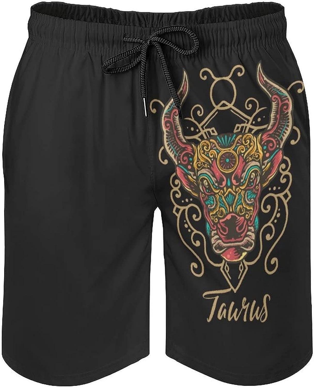 Floral Taurus Zodiac Men's Summer Quick Dry Swim Trunks Casual Board Shorts Beachwear for Boys Men