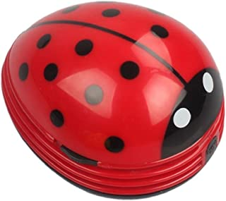 E ECSEM Cute Portable Beetle Ladybug Cartoon Mini Desktop Vacuum Desk Dust Cleaner(Red#002)