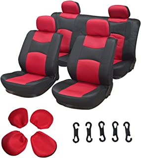 ECCPP Universal Car Seat Cover w/Headrest - 100% Breathable Mesh Cloth Stretchy Durable for Most Cars Trucks Vans(Red/Black)