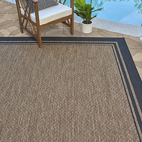 Gertmenian 21359 Nautical Tropical Carpet Outdoor Patio Rug, 8x10 Large, Border Black Maine