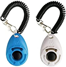 LaZimnInc Dog Training Clicker with Wrist Strap - Pet Training Clicker, Big Button Clicker Set, 2-Pack(Blue + White)