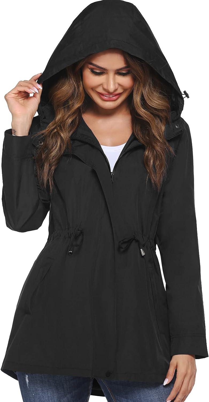 HOTLOOX Women's Lightweight Raincoat Hooded Waterproof Active Outdoor Rain Jacket with Pockets Windbreaker S-XXL