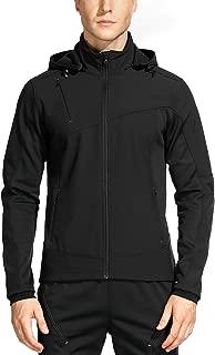Men's Windproof Fleece Jacket Hooded Soft Shell for Outdoor Sports