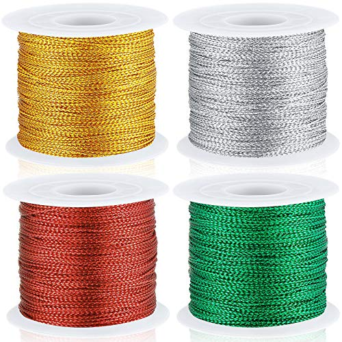 440 Yards Metallic Cord Tinsel Rope for Craft Jewelry Making, Ribbon Wrap Thread Tag Cord for Christmas Ornament Hanging Decoration (Gold, Silver, Red, Green)