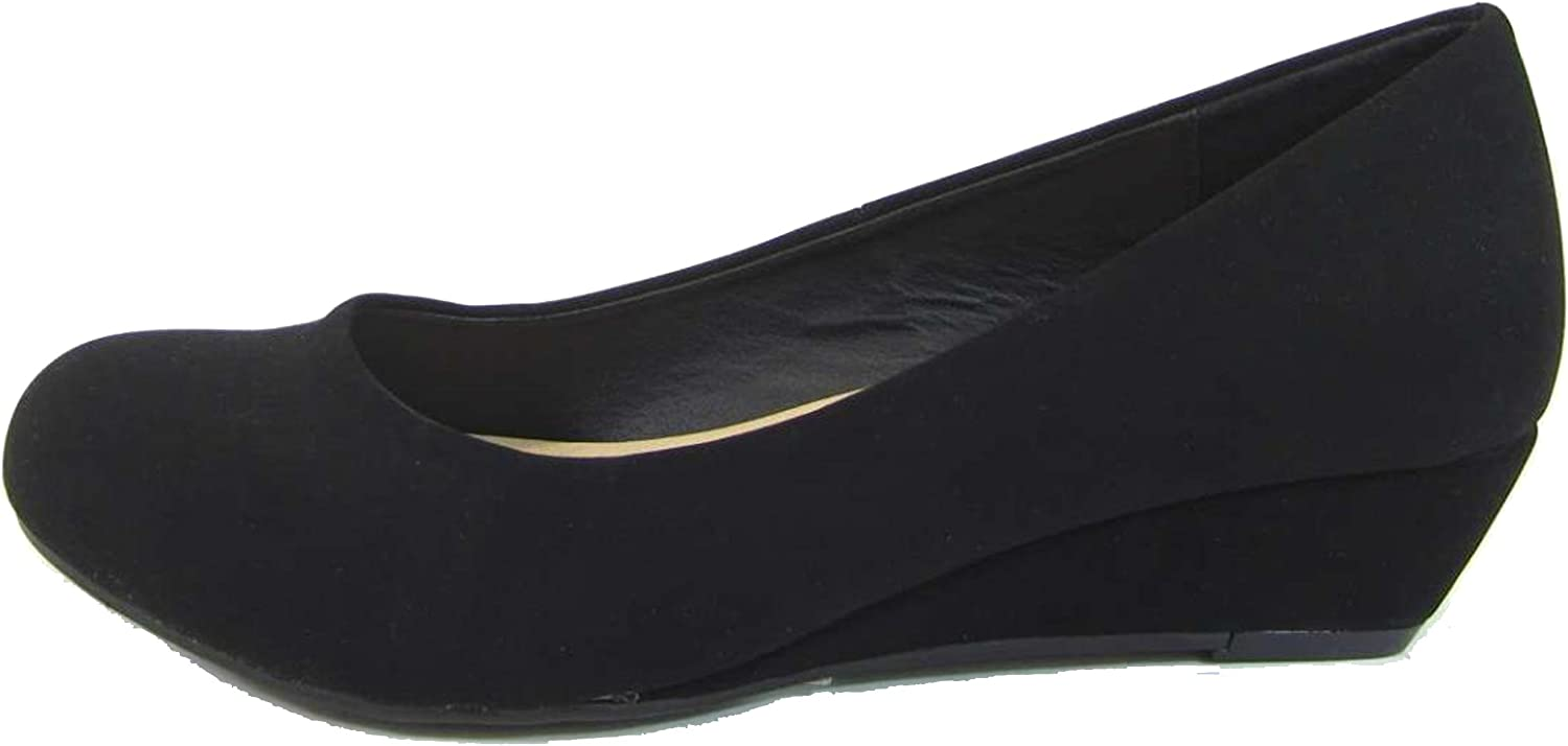 City Classified Women's Comfy Padded Insole Slip On Round Toe Wedge Pump (6 B(M) US, Black Nbpu)