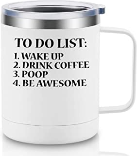 To Do List Wake Up Drink Coffee Poop Be Awesome - Happy Father's Day Gifts for Best Dad, New Dad, Daddy, Husband from Daughter, Son, Wife - Funny Dads Birthday Gift for Men, Him - LEADO Coffee Mug