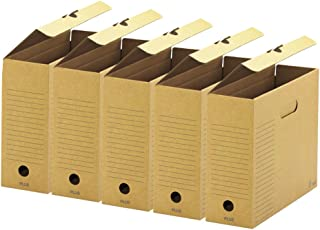 プラス ファイルボックス フタ付 5冊 A4横 背幅100mm 78-092 ブラウン