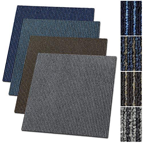 Teppichfliesen Bohemia | selbstliegend | Strapazierfähiger Schlingenflor | Bodenbelag für Büro und Gewerbe | 50x50 cm | Streifen-Optik (Grau)
