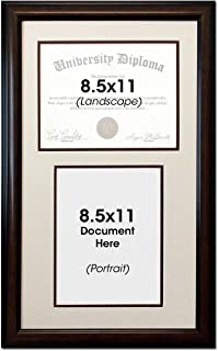 Double Diploma Document Certificate Reverse Openings Wood Picture Frame for Two 8.5x11 one Landscape and one Portrait