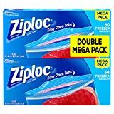 Ziploc Freezer Bags, Easy Open Tabs, Gallon, 60 Count, Pack of 2 (120 Total Bags)