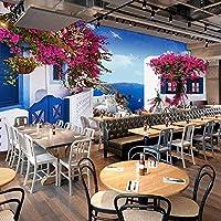 地中海の海景ローズ写真壁画壁紙3Dカフェレストランロマンチックな背景壁家の装飾-130x60cm