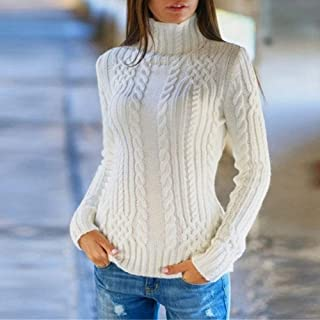 Women's Pullover Sweaters Long Sleeve Turtleneck Outwear Sweater Pullover Tops Solid Color Slim Fit Cable Knit Jumper Tops