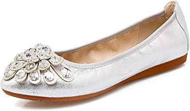 Meeshine Womens Foldable Soft Pointed Toe Ballet Flats Rhinestone Comfort Slip on Flat Shoes
