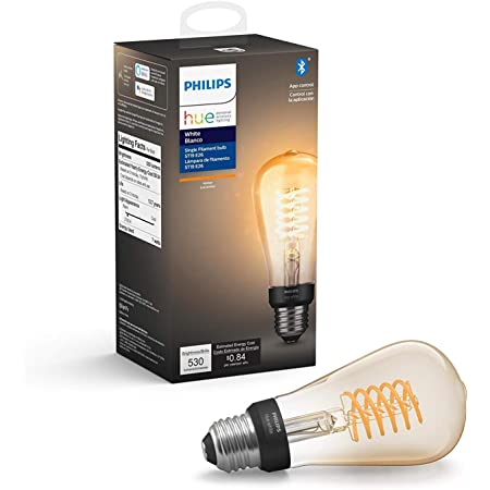 Philips Hue White Dimmable Filament ST19 LED Smart Vintage Edison Bulb, Bluetooth & Hub compatible (Hue Hub Optional), voice activated with Alexa