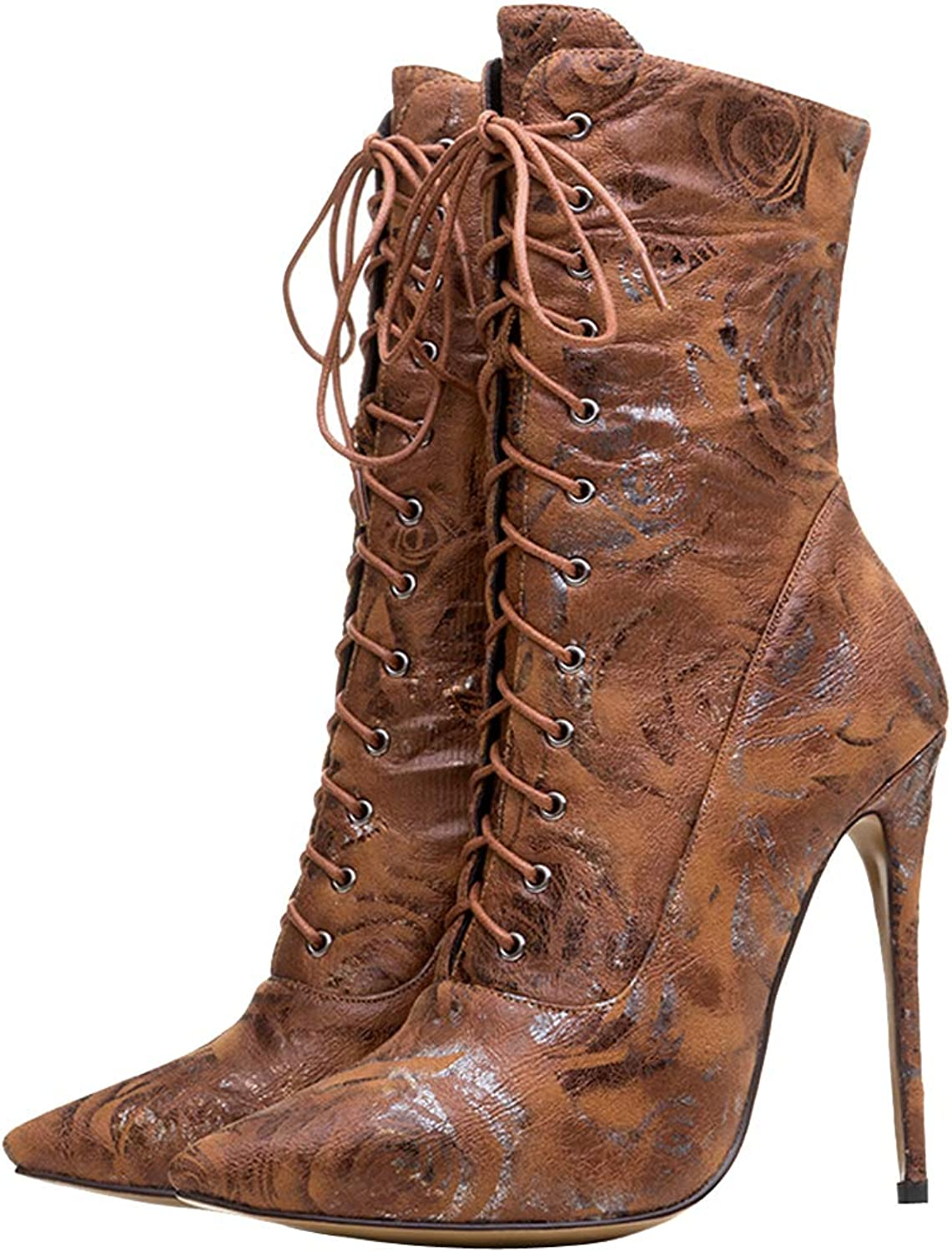 Themost Womens Ankle Boots,Lace Up High Heel Boot Winter Pointed Toe Booties Light Brown