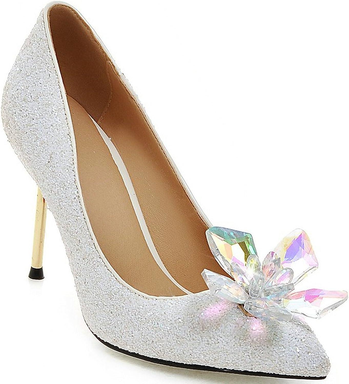 AIWEIYi Womens Pointed Toe Crystal Flower Decor Glitter Bridal Wedding Pumps High Heel shoes Black