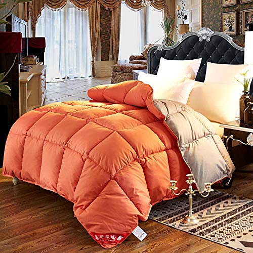 CHOU DAN double duvet 10.5 tog,Down duvet 95 white goose down winter duvet thickened to keep warm-180x220cm 4000g_Orange+grey