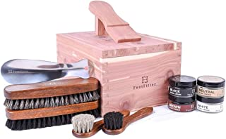 FootFitter Shoe Shine Valet Set for Men - All in One Shoe Care Kit - Brush, Polish, Cloth, etc.