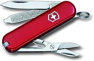 Victorinox Matt Classic - Navaja Multiusos de Acampada, tamaño 58 mm, Color satén Rojo